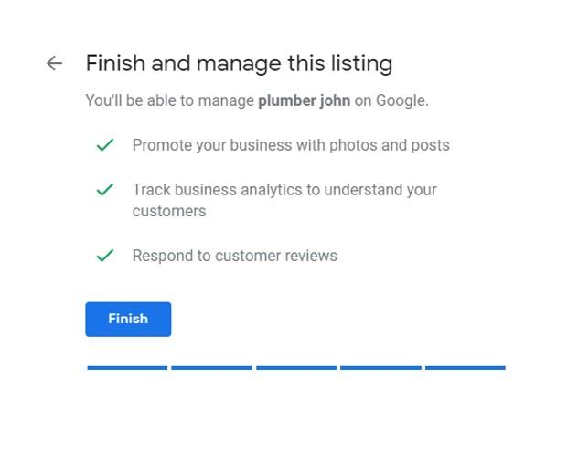 Google My Business Setup Finish screen