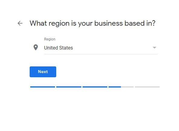 "Google My Business Setup ""What region is"" screen"