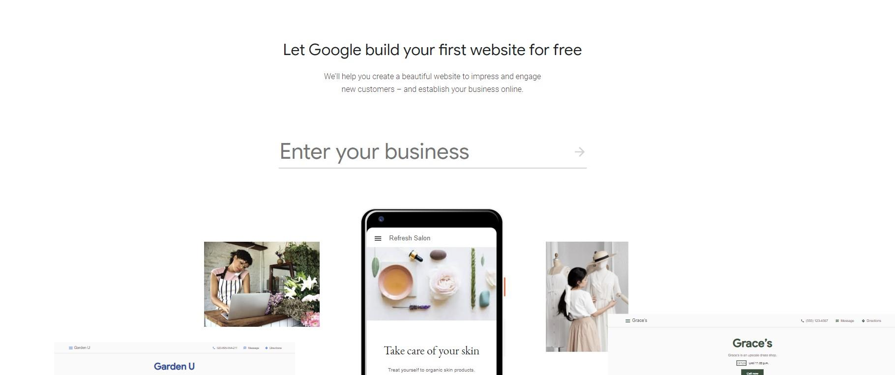 screenshot of Google My Business Website Official Page