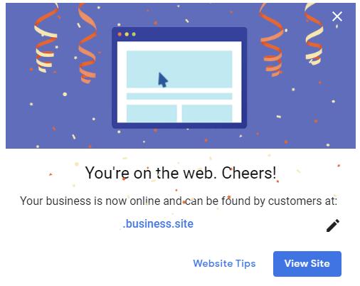 screenshot of Google My Business Website Published Message