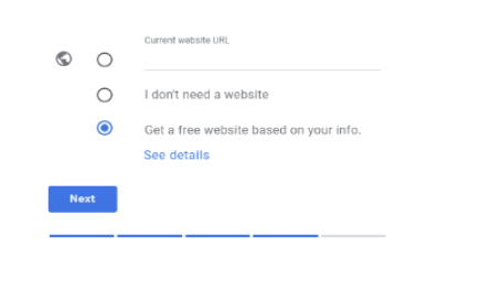 a screenshot of Google My Business Site Setup Creation Step