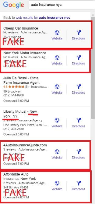 Google My Business Map Pack Spam Listings Example