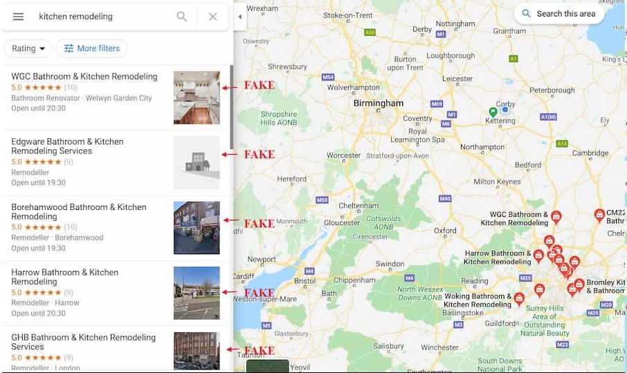 Google My Business Local Pack Spam Listings Example