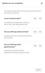 "screenshot of Google My Business ""Update Service Availability"" Notice"