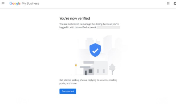"screenshot of Google My Business Verification Code accept message: ""You're no verified"""