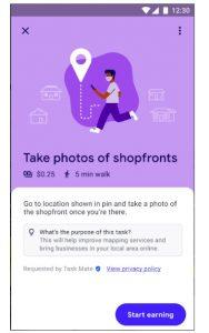 screenshot of Google Task Mate - Take photos of shopfronts Task