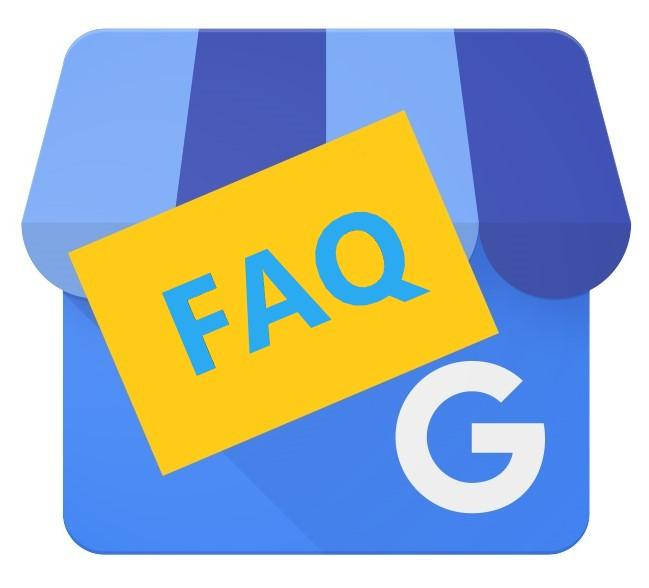 Google My Business Logo with FAQ blue text on top