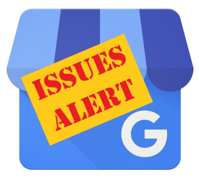 Google My Business Logo with Issues Alert overlay text