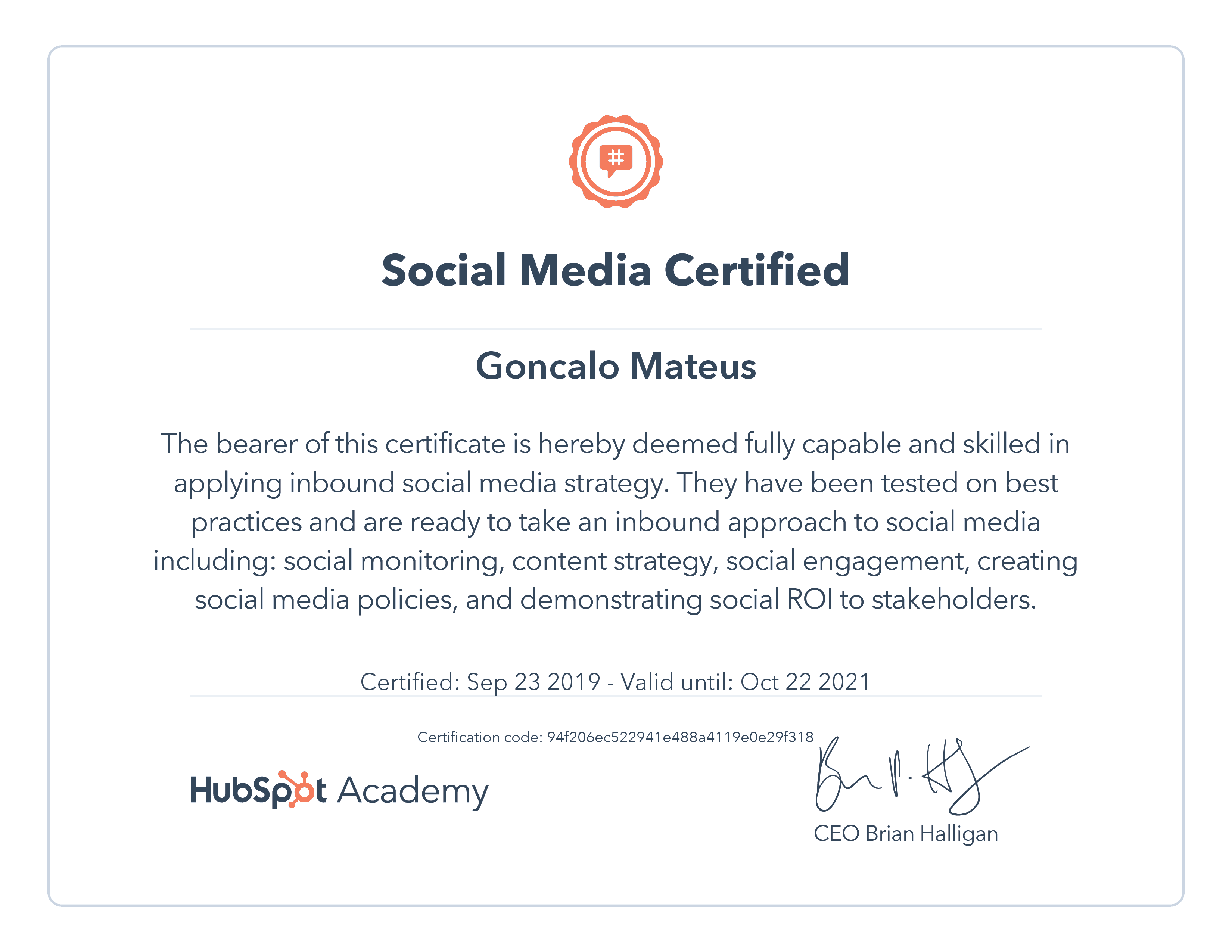 Image of Hubspot Academy Social Media Certificate