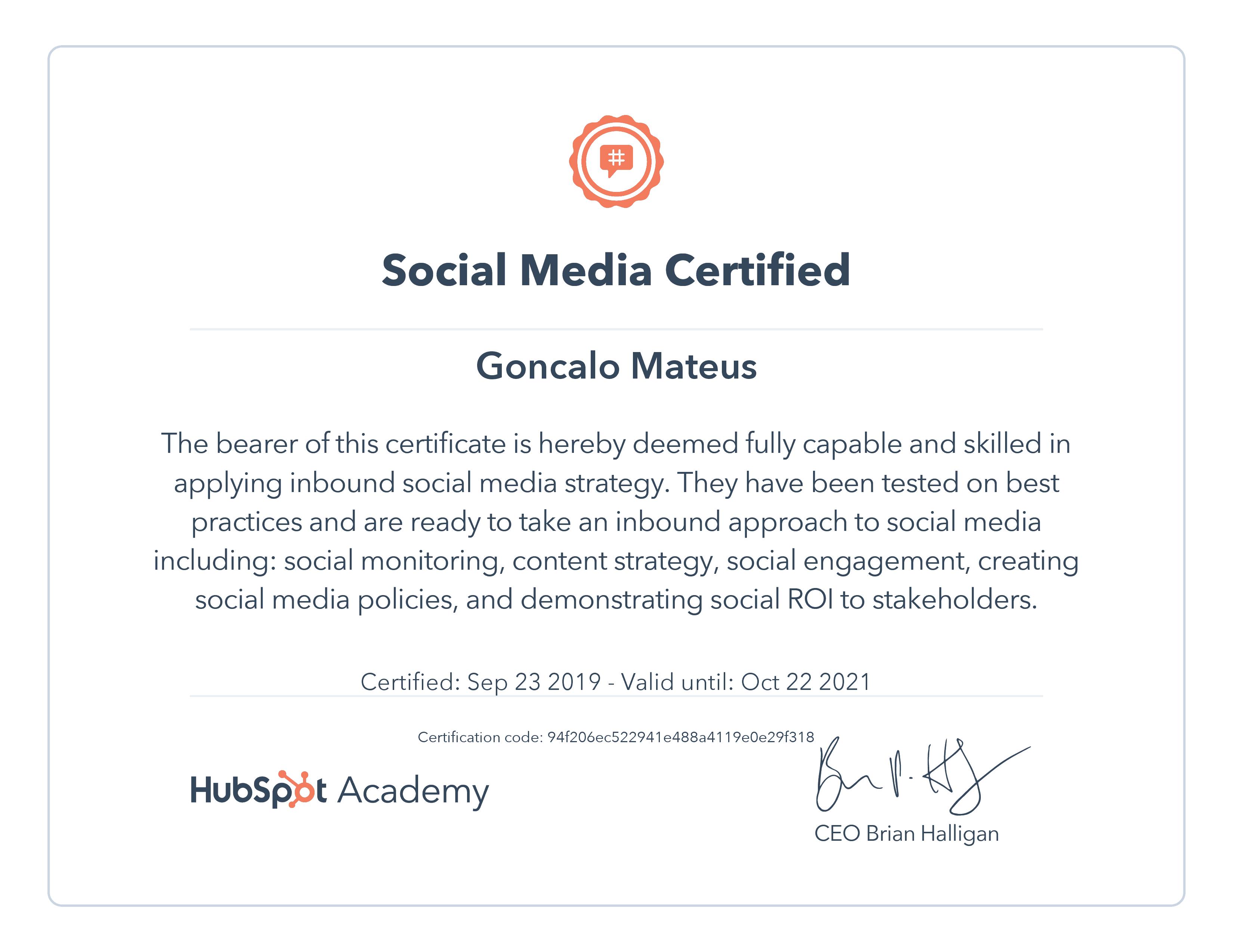 Image of Hubspot Academy Social Media Certificate