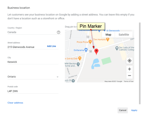 screenshot of Google My Business Address Edit box with Map Pin Marker
