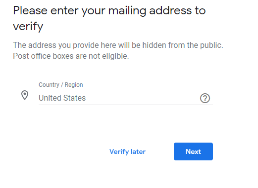 Google My Business Verification Address Issue