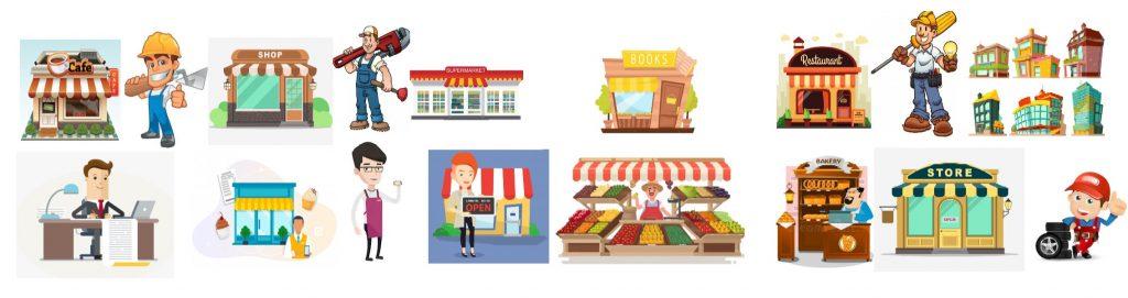different local businesses: cafe, handyman, shop, plumber, supermarket, book store, restaurant, electrician, downtown shops, accountant, cake shop, hair salon, fruit seller, bakery, store, mechanic