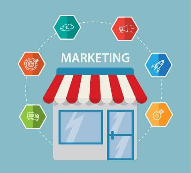 store with word marketing on top and various icons around