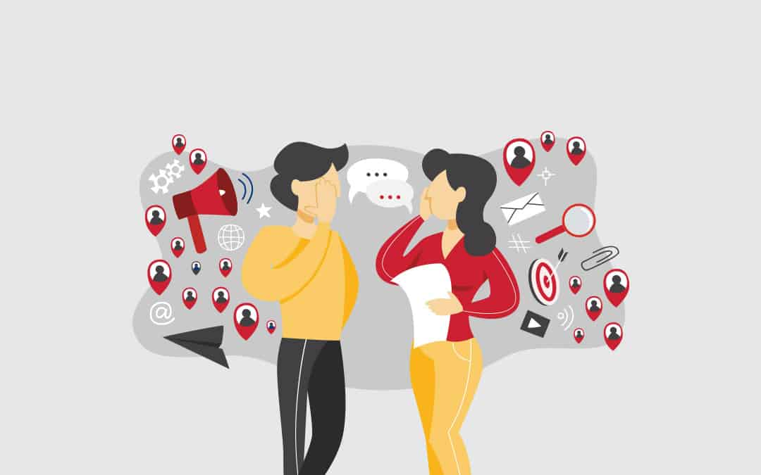 two people talking and behind each other are icons representing the various forms of communication and marketing to represent Word of mouth Marketing