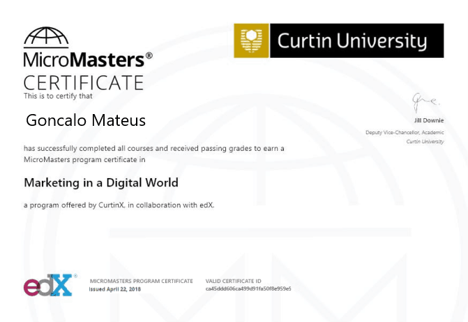 Picture of Curtin University Marketing in a digital world Certificate of Micromasters