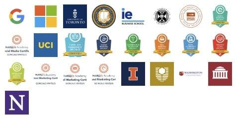 Marketing Qualifications Professor M includes logos of universities, google and other institutes