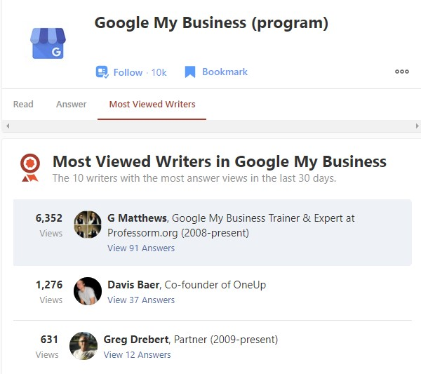 Professor M is a Quora Most Viewed Writer in Google My Business Topic - November 2020 Screenshot
