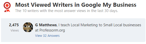 Professor M is a Quora Most Viewed Writer in Google My Business Topic