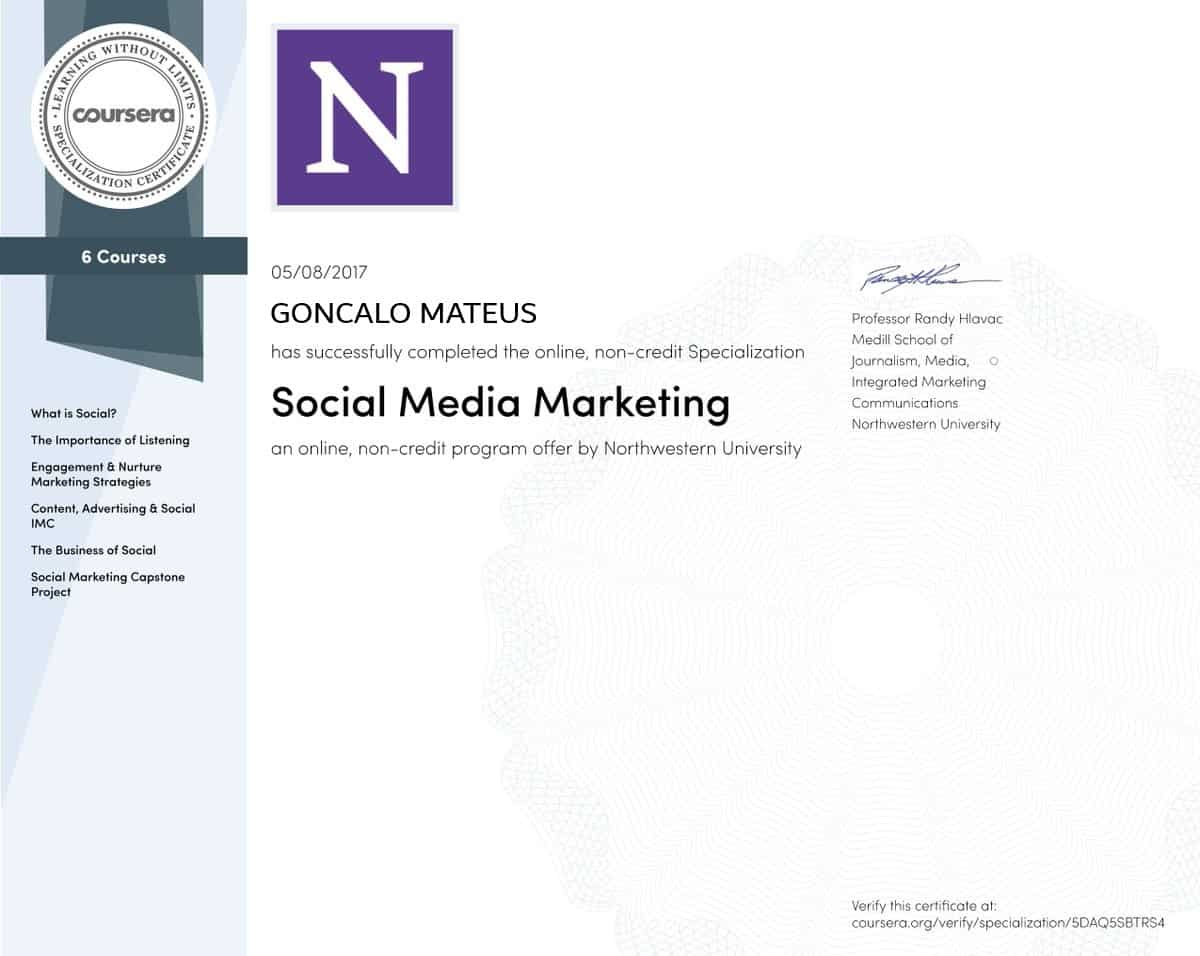 Image of Northwestern University Social Media Specialization Certificate